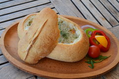 Soup in bread. With vegetables Royalty Free Stock Images