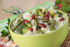 Soup of broccoli, cabbage,  cauliflower, beans and cream Royalty Free Stock Images