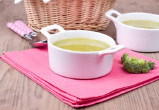 Soup with broccolli. On a napkin Stock Photo