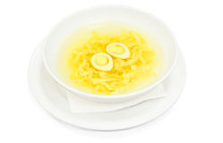 Soup with broth and noodles Royalty Free Stock Photos