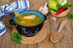 Soup with buckwheat groats Stock Image