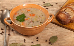 Soup with buckwheat and vegetables. Royalty Free Stock Photo