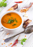 Soup of bulgur and lentils with smoked royalty free stock photo
