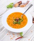 Soup of bulgur and lentils Stock Photos