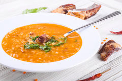 Soup of bulgur and lentils royalty free stock images