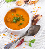 Soup of bulgur and lentils with smoked stock image