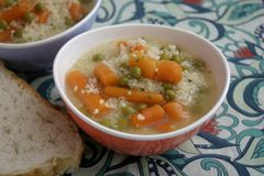 Soup of bulgur and vegetables Stock Image