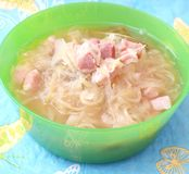 Soup of cabbage with bacon Stock Images
