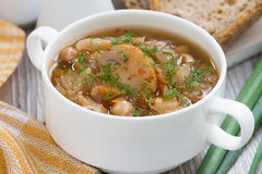 Soup with cabbage and mushrooms in bowl, closeup Stock Photos