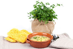 Soup With Capellini Pasta Royalty Free Stock Photo