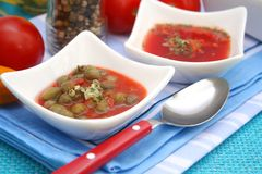 Soup with capers. A fresh soup of tomatoes with capers Stock Photo