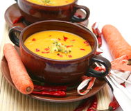 Soup of carrots Royalty Free Stock Image