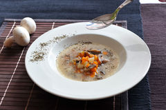 Soup with carrots, mushrooms and sour cream. Soup with carrots, mushrooms and sour cream on a white plate and brown table top Stock Image