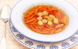 Soup with carrots Royalty Free Stock Photo