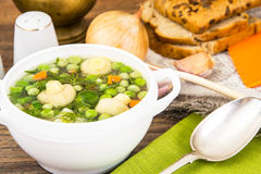 Soup with Cauliflower, Brussels Sprouts, Green Beans, Peas, Carr Stock Photo