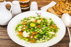 Soup with Cauliflower, Brussels Sprouts, Green Beans, Peas, Carr Royalty Free Stock Image