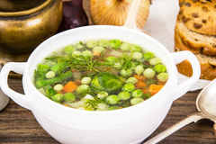 Soup with Cauliflower, Brussels Sprouts, Green Beans, Peas, Carr Stock Photography