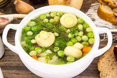 Soup with Cauliflower, Brussels Sprouts, Green Beans, Peas, Carr Royalty Free Stock Photography
