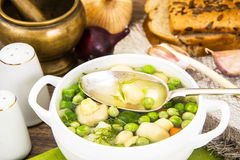 Soup with Cauliflower, Brussels Sprouts, Green Beans, Peas, Carr Royalty Free Stock Images