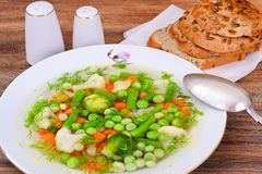 Soup with Cauliflower, Brussels Sprouts, Green Royalty Free Stock Photo