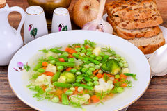 Soup with Cauliflower, Brussels Sprouts, Green Stock Images