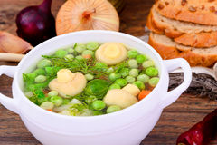 Soup with Cauliflower, Brussels Sprouts, Green Stock Photo