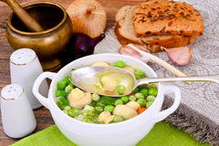 Soup with Cauliflower, Brussels Sprouts, Green Royalty Free Stock Image