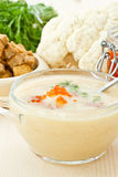 Soup cauliflower puree with red caviar Stock Images