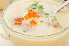 Soup cauliflower puree with red caviar Royalty Free Stock Photography