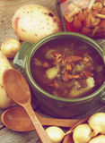 Soup with Chanterelle Mushrooms Royalty Free Stock Images