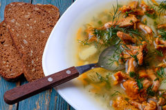 Soup with chanterelles, herbs and potatoes on wooden background. Stock Image