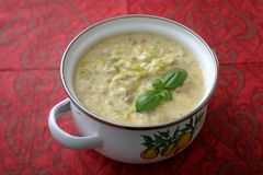 Soup of cheese and minced meat. A fresh stew of leak and minced meat Stock Images