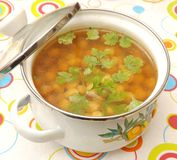 Soup of chick peas Stock Photography