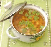 Soup of chick peas Stock Image