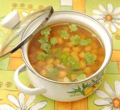Soup of chick peas Royalty Free Stock Images