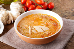 Soup with chicken broth Stock Photography