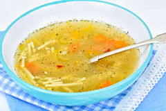 Soup with Chicken Broth with Noodles and Vegetables Stock Photography