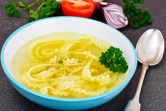 Soup with Chicken Broth with Noodles and Vegetables Stock Images