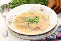 Soup on chicken broth. With vermicelli and vegetables Stock Image