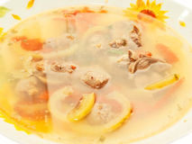 Soup with Chicken giblets in plate Royalty Free Stock Images