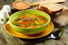 Soup of chicken giblets and red lentils. Royalty Free Stock Photography
