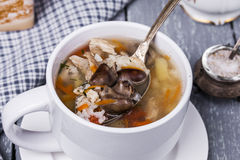 Soup with chicken giblets Stock Images