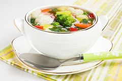 Soup with chicken meatballs and fresh vegetable Royalty Free Stock Photo