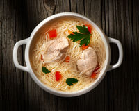 Soup with chicken and pasta Royalty Free Stock Photography