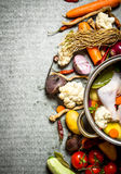 Soup with chicken, vegetables and spices. Stock Photography