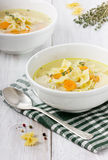 Soup chicken in a white bowl. With spoon on a white wooden table Royalty Free Stock Photos