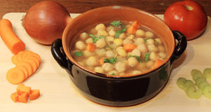 Soup of chickpea and carot. A soup of chickpea and vegetables Royalty Free Stock Photography