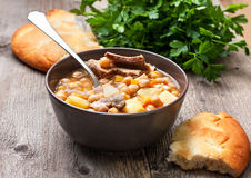 Soup with chickpeas and lamb Stock Photos