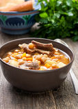 Soup with chickpeas and lamb Royalty Free Stock Photo
