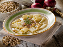 Soup with  chickpeas and pasta Royalty Free Stock Image